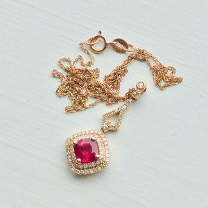 14KT ruby 2X diamond halo pendant & chain necklace